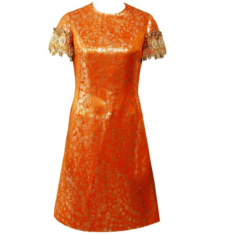 1960s Italian Couture Orange Embroidered Cocktail Mod Mini Dress