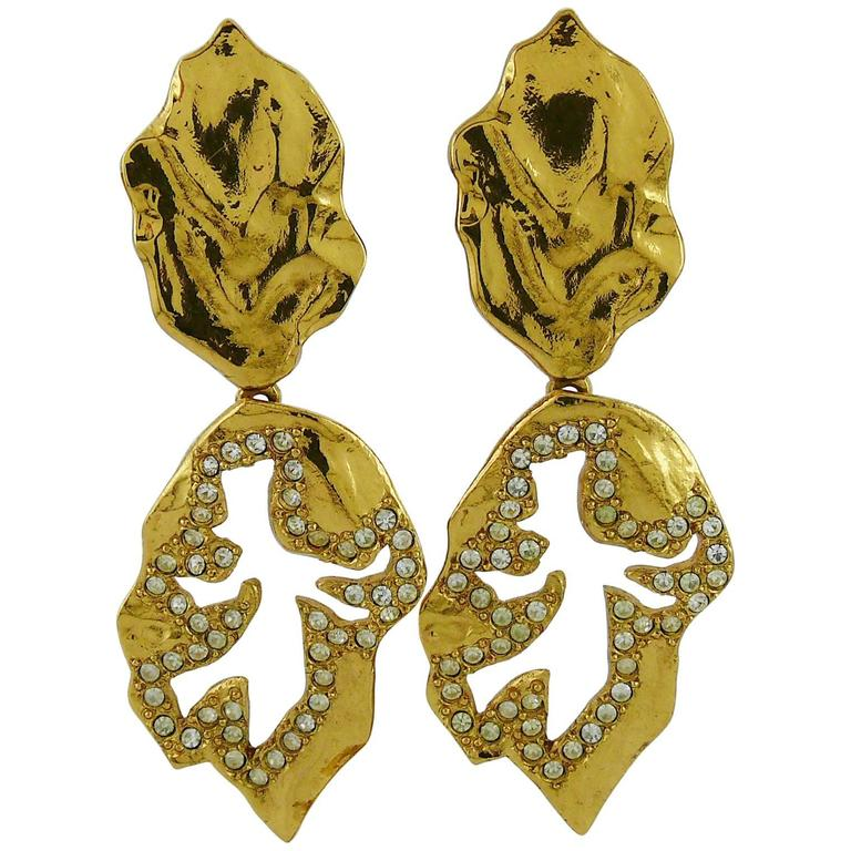 Yves Saint Laurent YSL Vintage Abstract Palladio Dangling Earrings For Sale