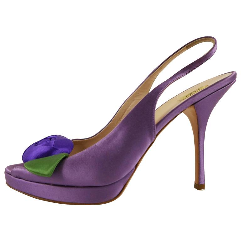 PRADA Purple Satin Rose Peep Toe Pumps Stiletto Shoes For Sale