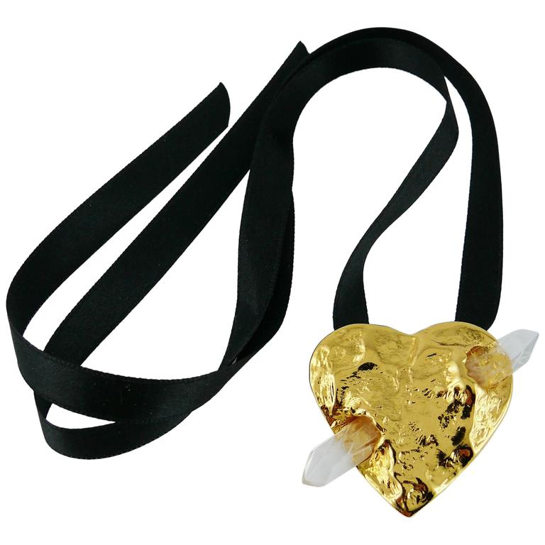 Yves Saint Laurent YSL Gossens Heart Rock Crystal Pendant Brooch