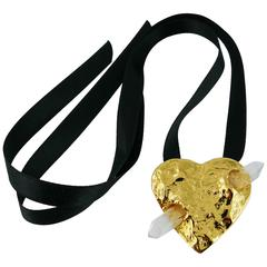 Yves Saint Laurent YSL Gossens Heart Rock Crystal Pendant Brooch