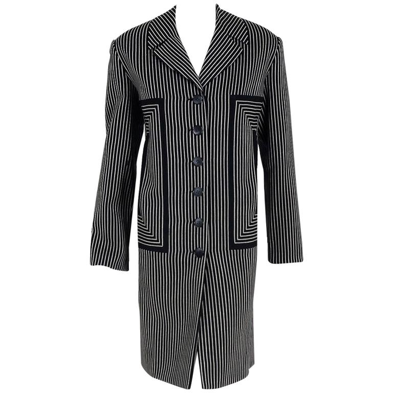1940's Irene Black & White Deco Pinstripe Wool-Gabardine Crombie Jacket Coat For Sale