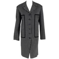 1940's Irene Black & White Deco Pinstripe Wool-Gabardine Crombie Jacket Coat