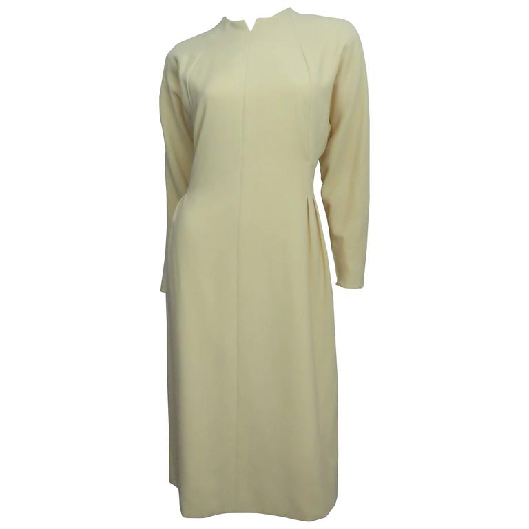 1970's Pauline Trigere Lemon Dolman Sleeve Dress