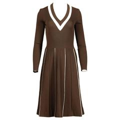 Unworn Crissa 1970s Vintage 100% Wool Brown Knit Dress with Original Tags