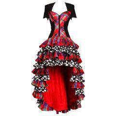 Gemma Kahng 1990s Vintage Tiered Plaid Polka Dot Bustier Dress
