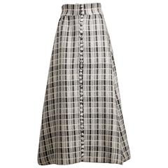 Donald Brooks 1960s Vintage Full Length Gray Wool Maxi Skirt with Silk Lining