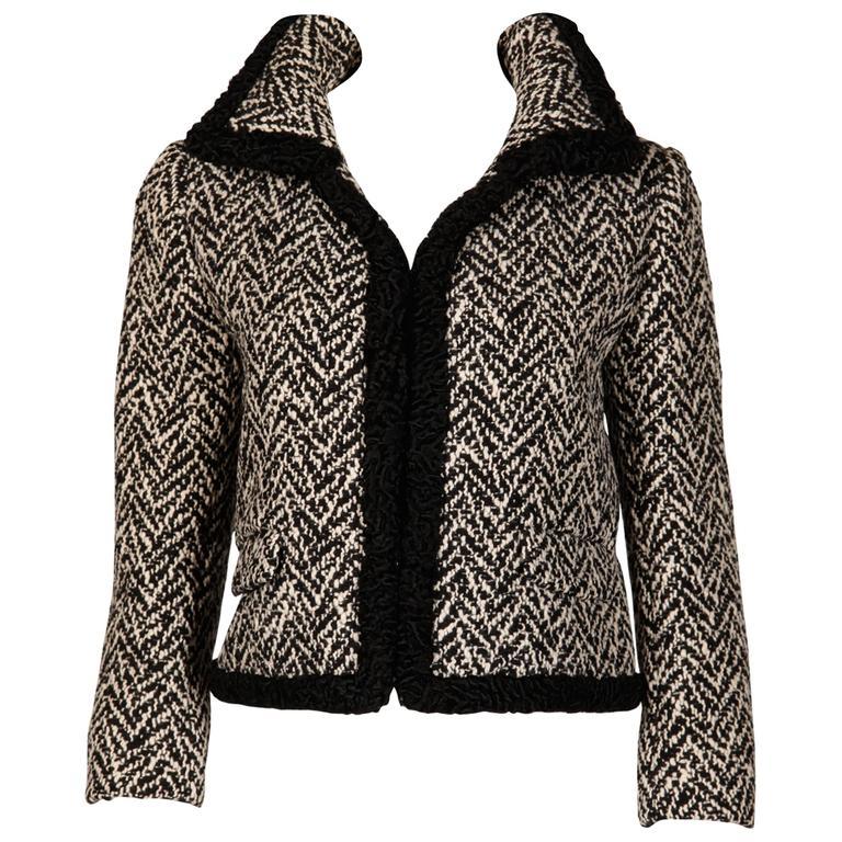 Ben Zuckerman 1960s Vintage Wool Tweed Jacket with Persian Lamb Fur Trim