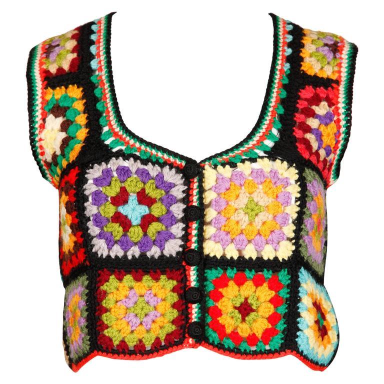 Adolfo for I. Magnin 1970s Vintage Wool Granny Squares Hand Crochet Vest Top