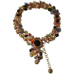 Vinatage Rare Versace gold chain Belt with multicoloured flowers