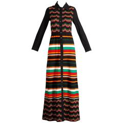 Ian Peters 1970s Vintage 100% Wool Chevron Striped Rainbow Knit Maxi Dress