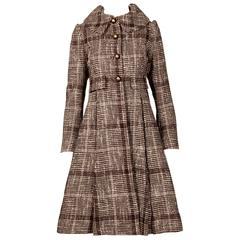 Cardinali 1960s Vintage Wool Tweed Princess Coat with Box Pleats + Brass Buttons