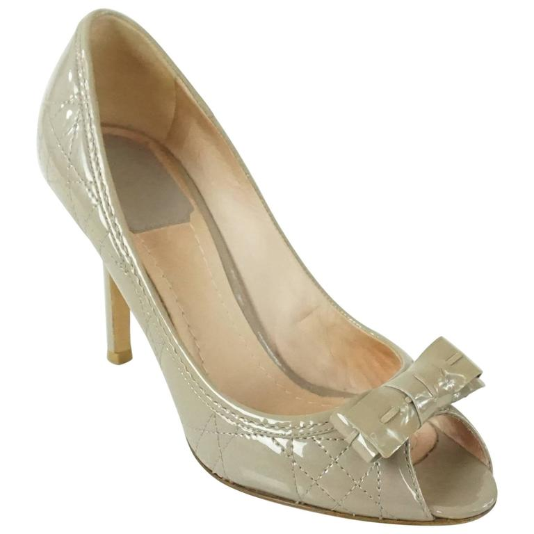 Christian Dior Taupe Patent Leather Peeptoe - 36.5 For Sale