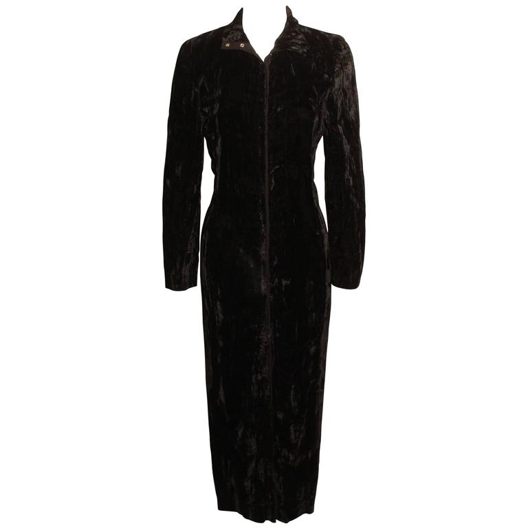 1980s Betsey Johnson Punk Label Long Velvet Dress