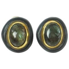 Alexis Bittar Grey and Gold Stone Clip-on Earrings