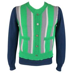 COMME des GARCONS Size M Navy & Green Wool Cardigan Layer V Neck Pullover
