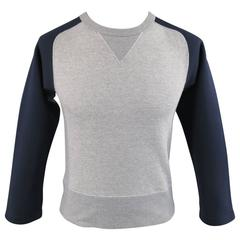 SASQUATCHfabrix Sweatshirt Small Heather Grey Navy Neoprene Raglan Sleeve