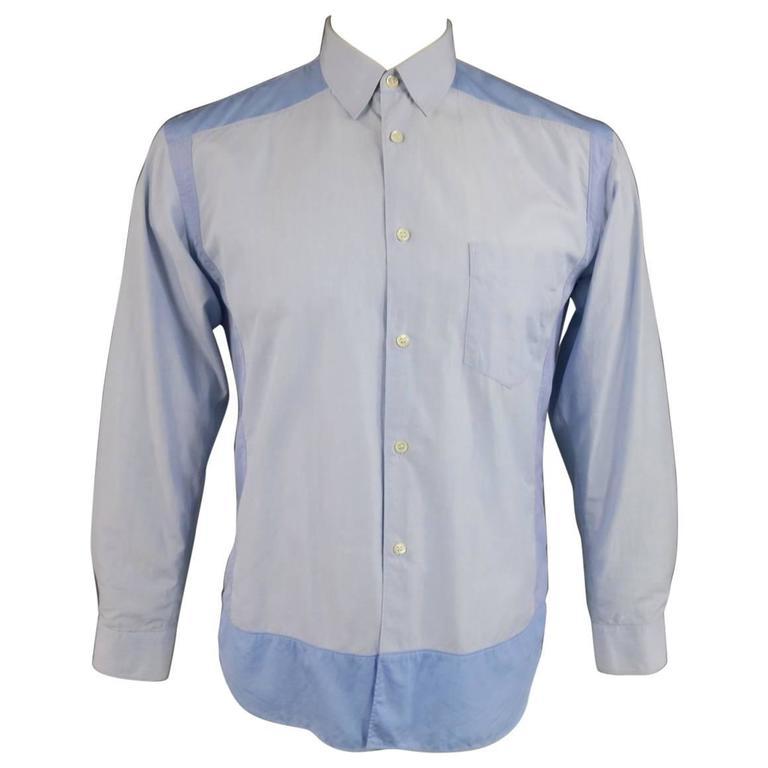 COMME des GARCONS Size M Light Blue Color Block Panel Cotton Long Sleeve Shirt 1