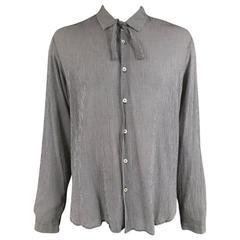 ANN DEMEULEMEESTER M Black & White Plaid Cotton / Silk Long Sleeve Tie Shirt