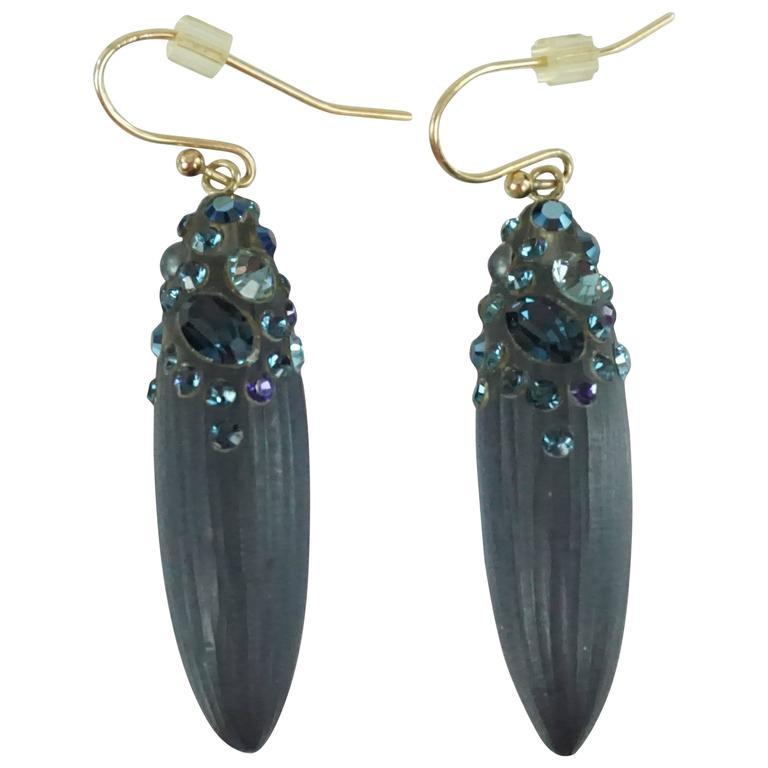 Alexis Bittar Blue Rhinestone Drop Earrings For