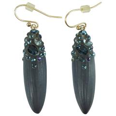 Alexis Bittar Blue Rhinestone Drop Earrings
