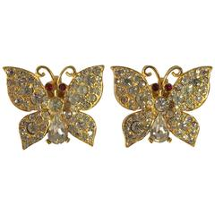 Kenneth Jay Lane Butterfly Clip On Earrings, 1970s