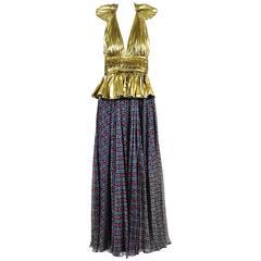 Dolce & Gabbana Gold Tone Navy Silk Lame Nautical Print Halter SL Gown SZ 42