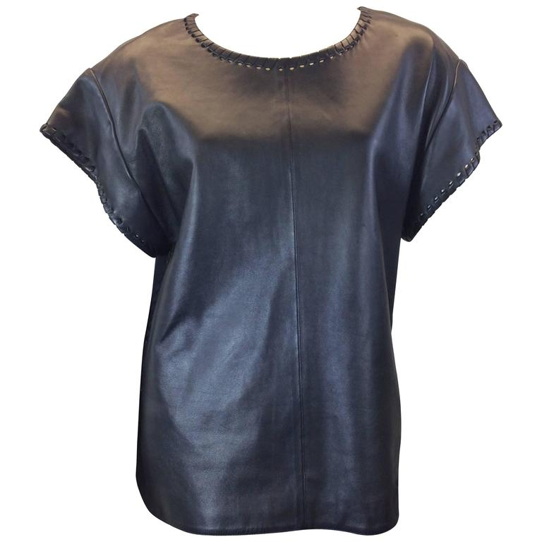 Chloe Black Leather Lambskin Short Sleeve Top  1