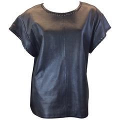 Chloe Black Leather Lambskin Short Sleeve Top