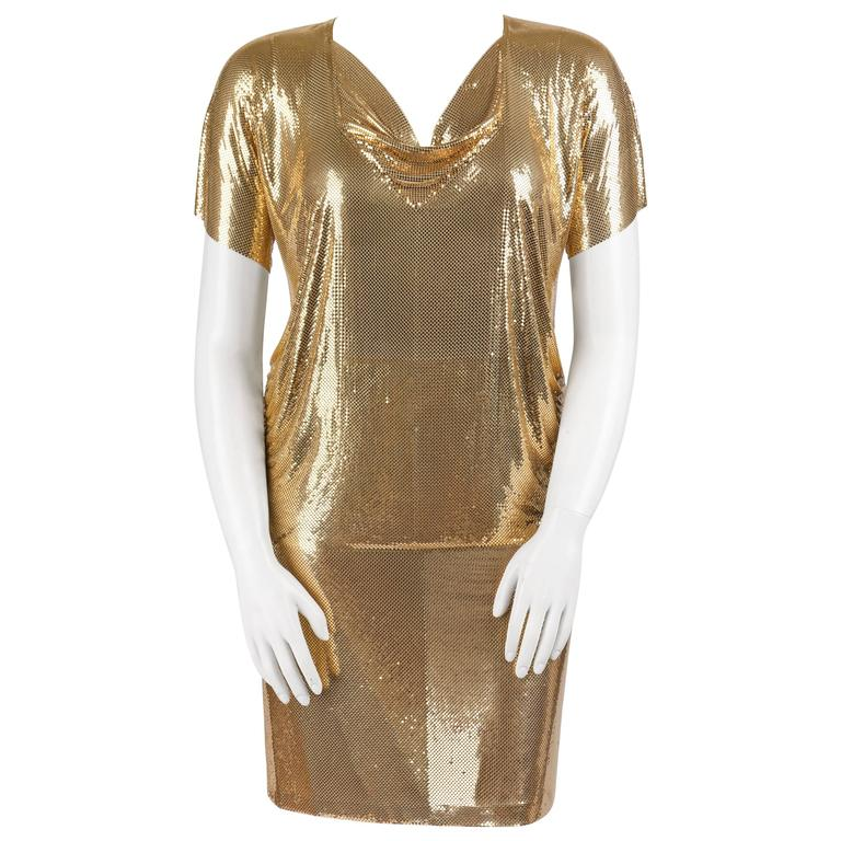 WHITING AND DAVIS c.1970's Gold Metal Mesh Cowl Neck Top Skirt Dress Set Size L