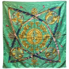 Hermes Vintage Daimyo Princes du Soleil Silk Scarf