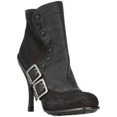 Dior Black Leather Buckled Booties
