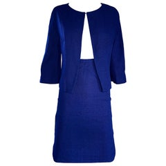 1960s Lilli Ann Navy Blue Vintage 60s Wool Classic and Chic Skirt Suit Ensemble
