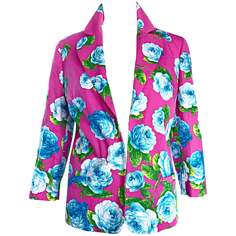 Vintage Gianni Versace 1990s Hot Pink Blue Green 3/4 Sleeves Roses Blazer Jacket