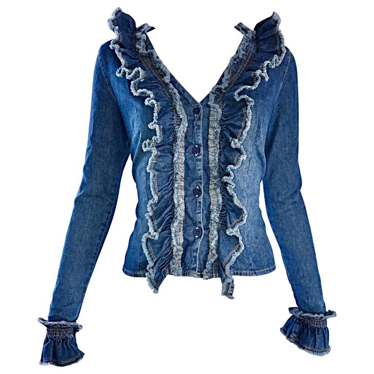 Fabulous 1990s Moschino Vintage Blue Jean Denim 90s Ruffle Shirt Jacket Size 10  For Sale