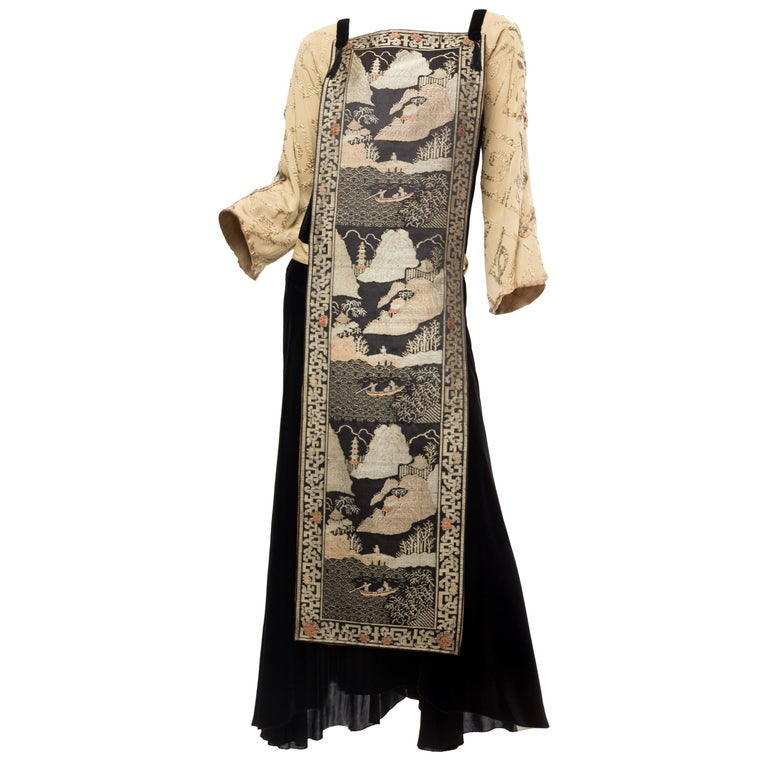 Black Antique Silk Velvet Gown With Edwardian Embroidered Sleeves & 19Th Centur For Sale