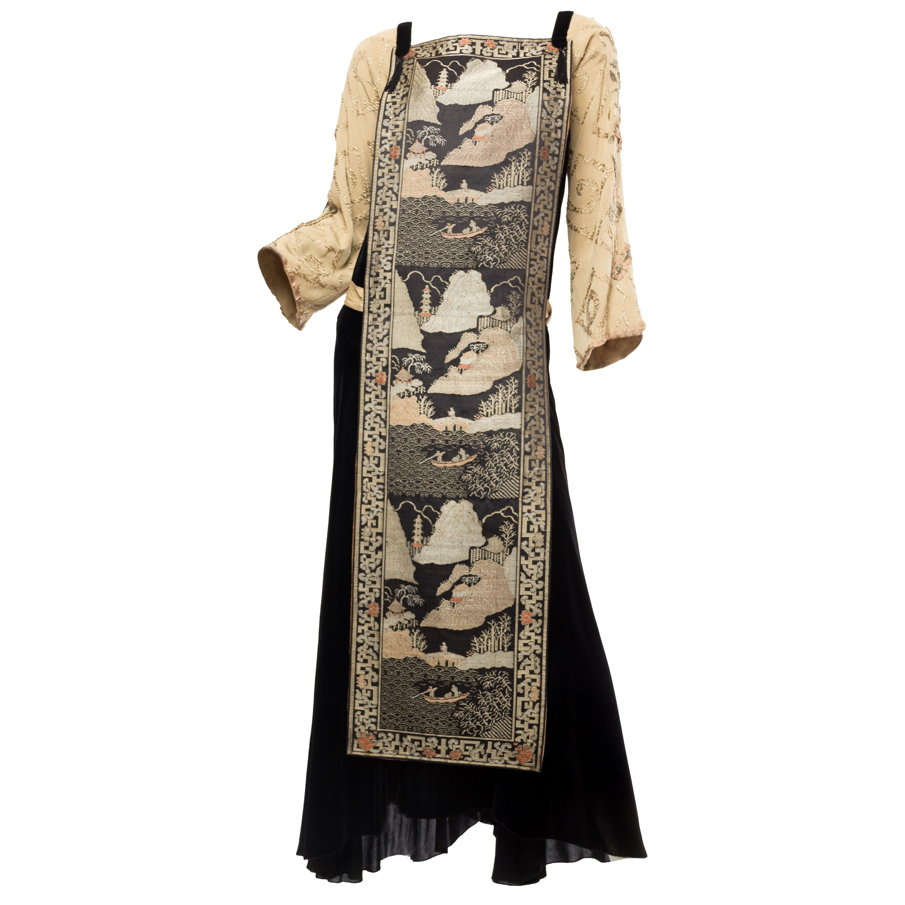 Black Antique Silk Velvet Gown With Edwardian Embroidered Sleeves & 19Th Centur