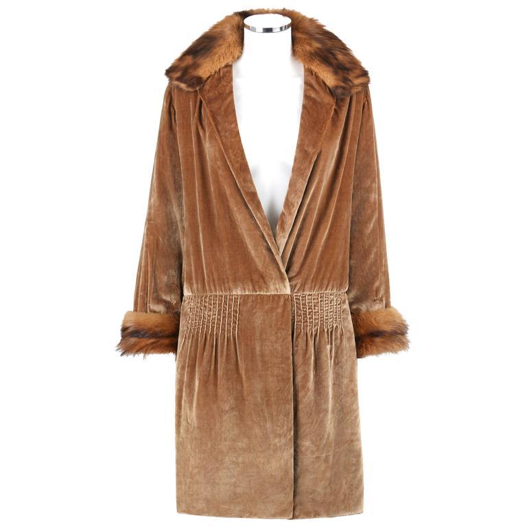 Jean Patou Couture C 1920s Bronze Fur Trim Velvet Drop