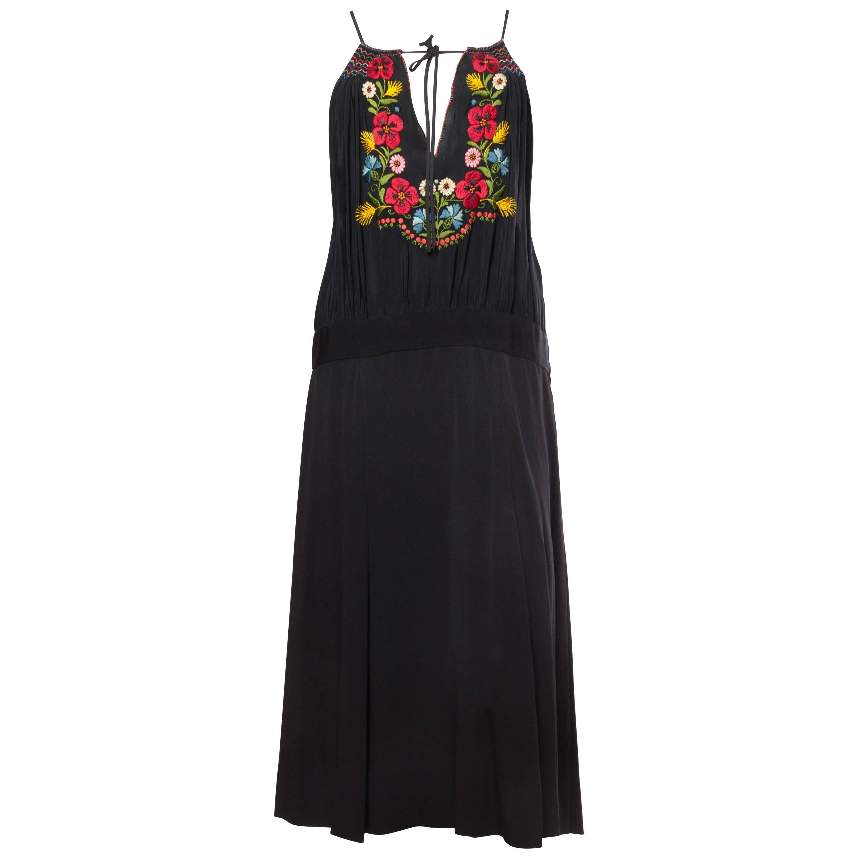 MORPHEW COLLECTION Black Rayon Bohemian Embroidered Dress With Flowers & Hand S