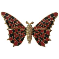 Ciner Red and Black Butterfly Brooch