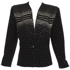 Fred A. Block Black Wool Crepe Metal Studded Jacket, Circa 1940s