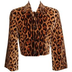 Perry Ellis Cropped Velvet Leopard Print Jacket