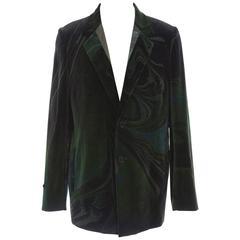 Yohji Yamamoto Men's Emerald Green Velvet Blazer, Autumn - Winter 2015