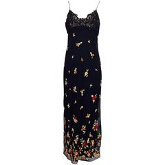 Bellville Sassoon black lace bodice floral silk embroidered chiffon gown 10