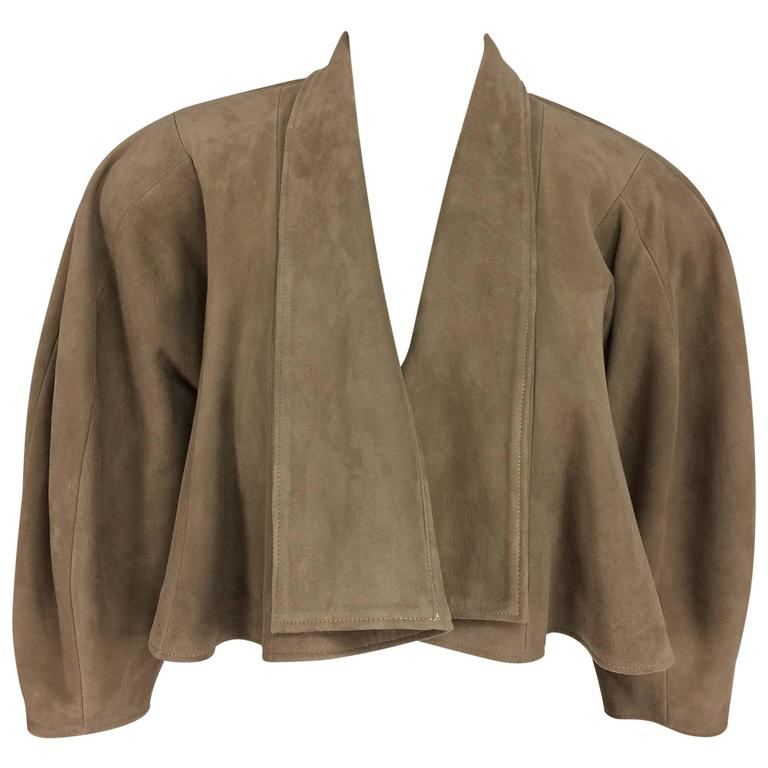 Jean-Claude Jitrois taupe suede cropped swing jacket 1980s