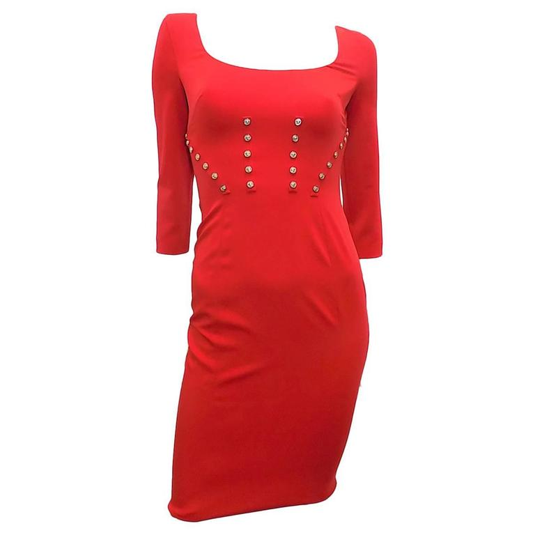 New w tag red versace dress with medusa studs at 1stdibs for Dress shirt studs uk
