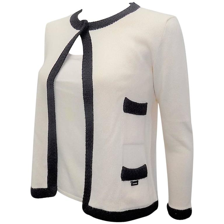 Chanel  Cashmere Ivory - black sweater set cardigan and top  For Sale