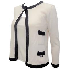 Chanel  Cashmere Ivory - black sweater set cardigan and top