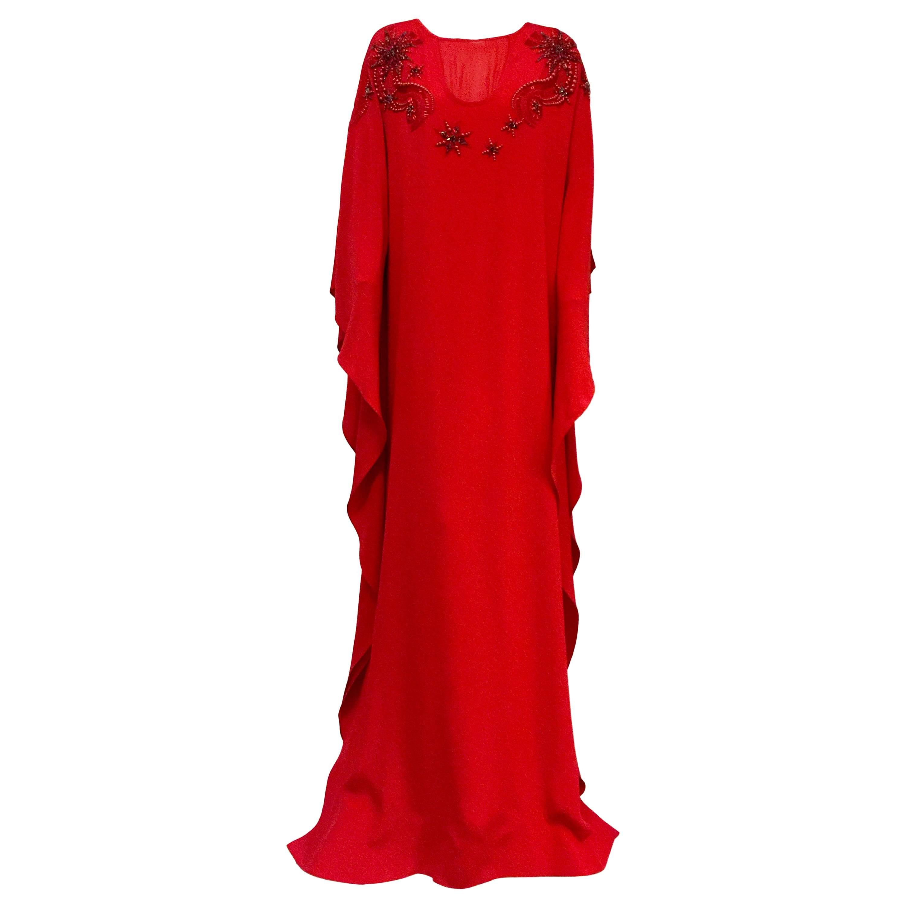 5e55cab2c2b NWT Emilio Pucci Rapturous Red Silk Caftan With Holiday Embroidery For Sale  at 1stdibs