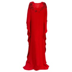 NWT Emilio Pucci Rapturous Red Silk Caftan With Holiday Embroidery 42 EU